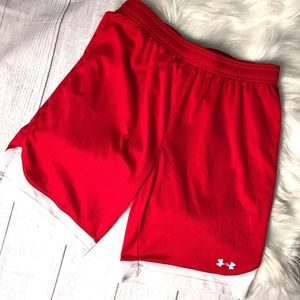 Under Armor Red/White Boy's Athletic Shorts - L